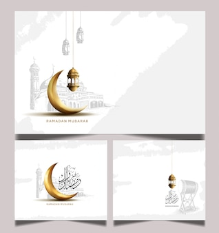 Ramadan greeting card with golden crescent moon and lantern