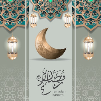 Ramadan greeting design template with gold crescent moon