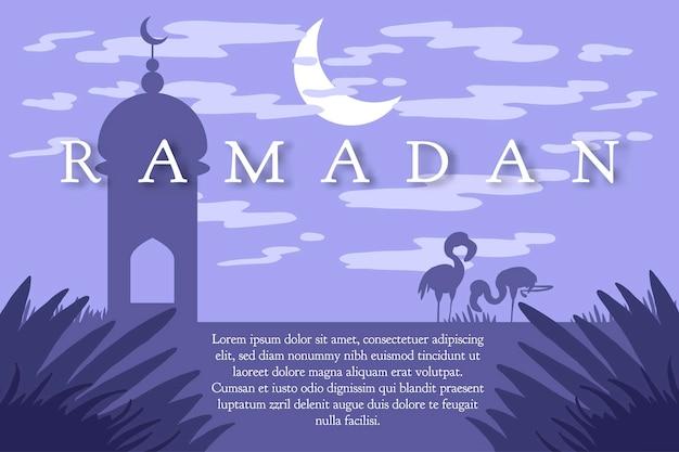 낙타와 함께 하는 라마단 인사, 라마단 카림을 위한 이슬람 인사말 카드. 벡터