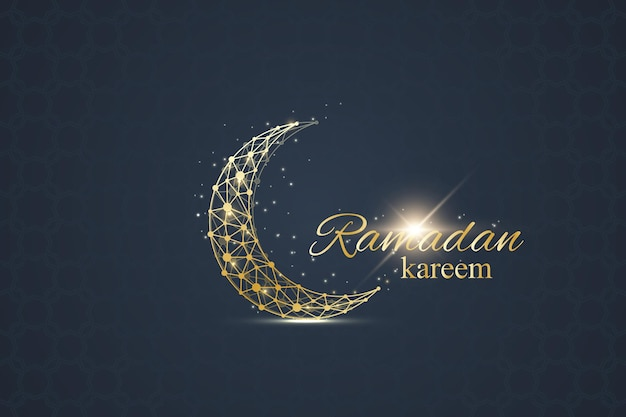 Ramadan greetings background. luxury gold solutions design. golden moon made from connected line and dots. ramadan kareem greeting. black background. vector illustration.