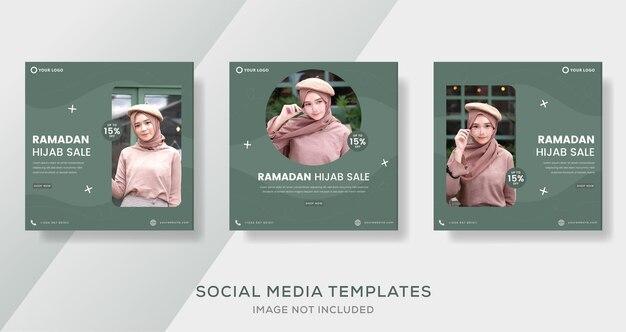 Ramadan hijab banner for fashion sale template post