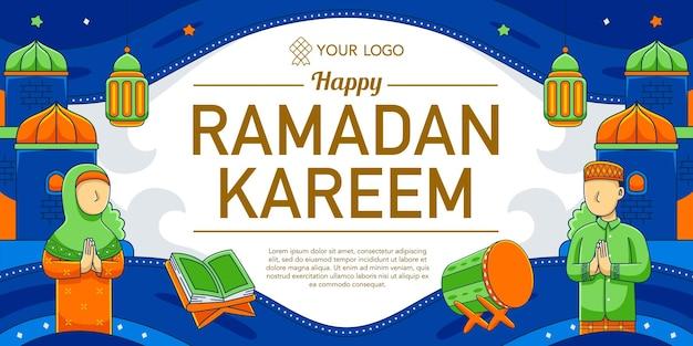 Рамадан горизонтальный дизайн в стиле плоский дизайн