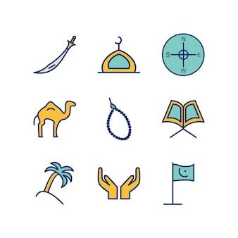 Ramadan icons sheet isolated on white