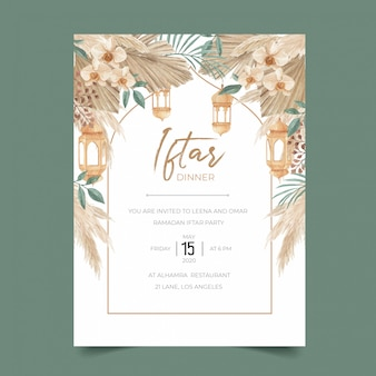 Ramadan iftar dinner invitation template with dried palm leaves, pampas grass, orchid and lantern