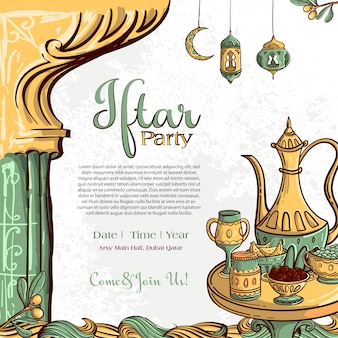 Ramadan iftar party greeting card with hand drawn dates and islamic food on white grunge background.