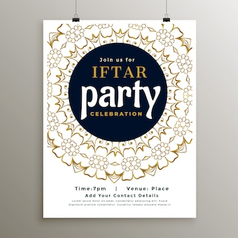 Ramadan iftar party invitation template with islamic decoration