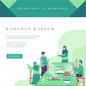 Instagramポストのラマダンイラスト。イスラム教徒の家族がイフタール時間概念図で一緒に食べる。ラマダンでの家族の活動