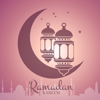 Ramadan illustration with lanterns around the moon with arabic city silhouette and place for text. arabian islamic kareem celebration concept