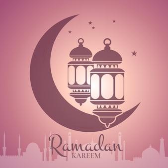 アラビア語の都市のシルエットとテキストの場所と月の周りのランタンとラマダンのイラスト。アラビアのイスラムカリームのお祝いの概念 Premiumベクター
