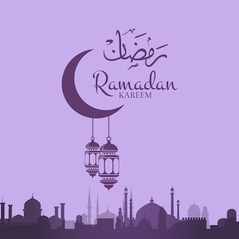 Ramadan illustration with lanterns hanging from moon with arabic city silhouette and place for text