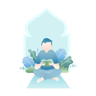 Ramadan illustration with man reading holy quran with tropical leaves