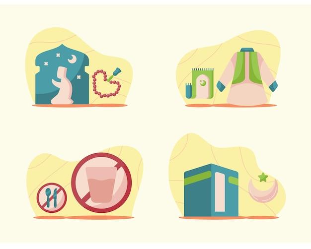 현대 평면 스타일로 설정된 라마단 삽화