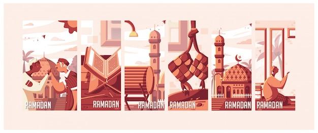 Ramadan illustrations Premium Vector