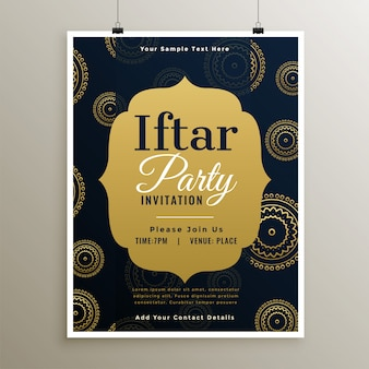 Ramadan islamic iftar party golden template