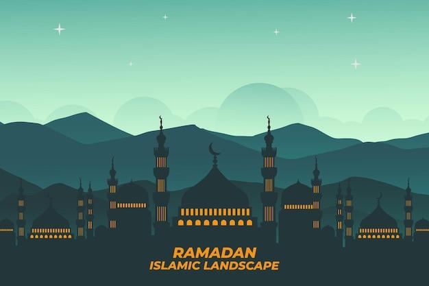 ラマダンイスラム風景フラットモスク山空の夜