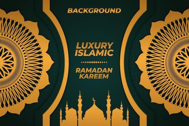 라마단 이슬람 모스크 라마단 카림 배경 럭셔리 골드 그린 장식