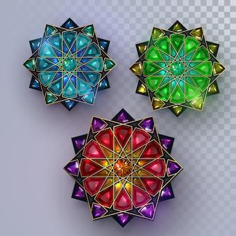 Ramadan kareem. abstract girih flower encrusted with turquoise crystals.   illustration. islamic jewelry ornament design. eid mubarak.
