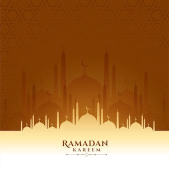 Рамадан карим и праздник ид мечеть приветствие дизайн