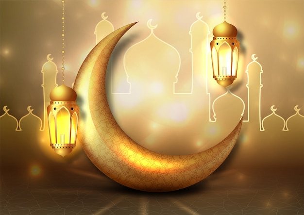 Ramadan kareem arabic calligraphy. design islamic with gold moon