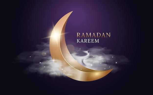 Рамадан карим арабский праздник. золотая луна с облаками и огнями.