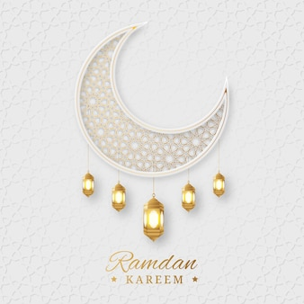 Ramadan kareem arabic islamic elegant white and golden luxury ornamental background