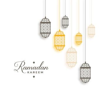 Рамадан карим в арабском стиле с подвесными фонарями