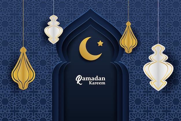Ramadan kareem background. design with moon,  lantern, mosque on midnight blue background.