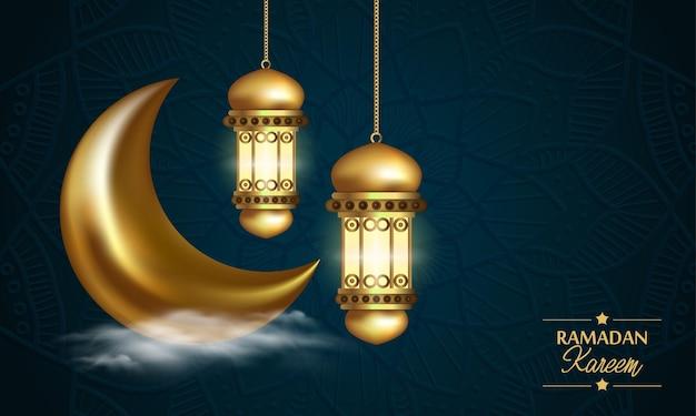 라마단 카림 배경, 아랍어 등불과 황금 화려한 초승달 그림