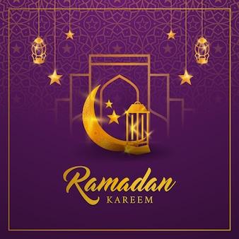 Ramadan kareem background, islamic holiday with crescent moon lanterns star gold shing illustration
