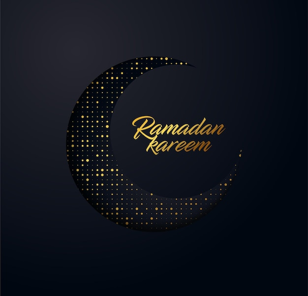 Ramadan kareem background made from shiny small gold dots and effect of the cut paper.