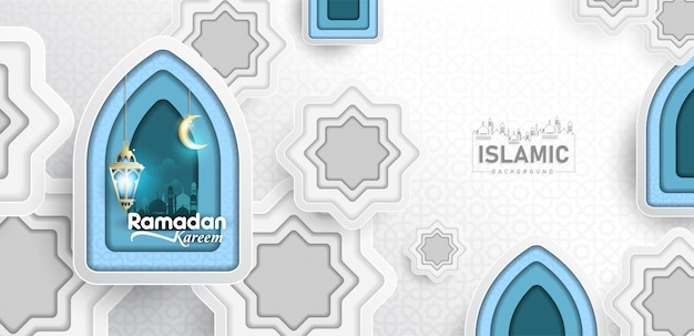 Ramadan kareem background in paper art or paper cut style vector