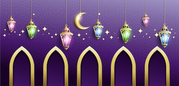 Ramadan kareem background in purple color
