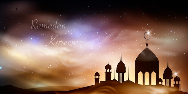 Ramadan kareem background. religion holy month. caligraphy. light moon. clouds. temple with domes. old muslim city.