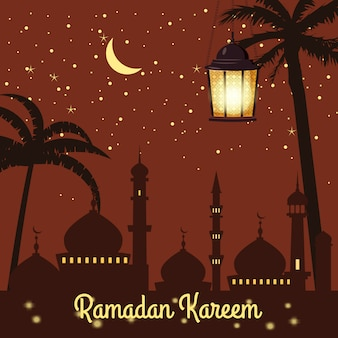 Ramadan kareem background silhouettes of the mosque bright moon, night, starry sky, lanterns, palm trees, postcard, vector, isolated, illustration