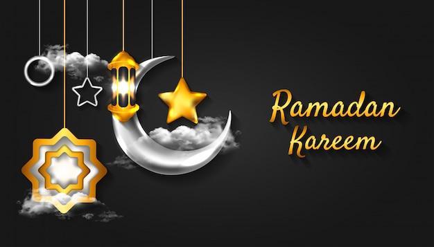 Ramadan kareem background with 3d realistic crescent moon, lantern lamp and cloud