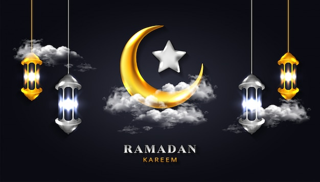 Ramadan kareem background with 3d realistic crescent moon and lantern