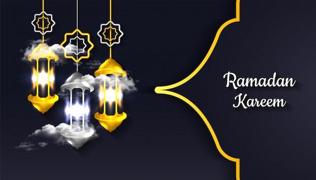 Ramadan kareem background with 3d realistic lantern lamp and cloud