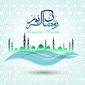 Ramadan kareem background with blue green mosque