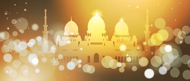 Ramadan kareem background with bokeh effect