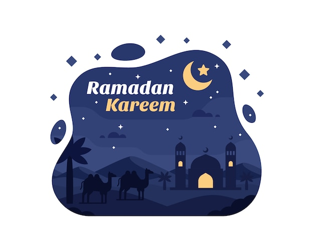 Ramadan kareem background with camel and mosque silhouette at desert