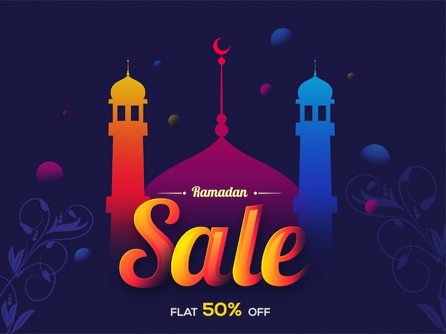 Ramadan kareem background with colorful mosque and floral design decoration, can be used as sale poster, banner or flyer design.