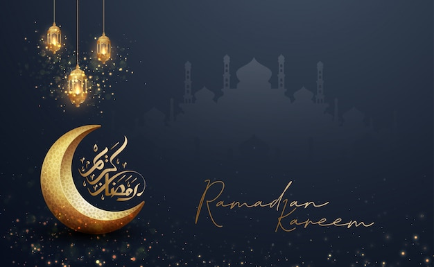 Ramadan kareem background with combination of lanterns, arabic calligraphy, and mosque.