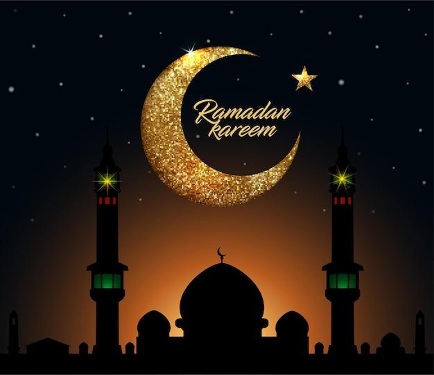 Рамадан карим фон с полумесяцем из блестящих маленьких квадратов с золотым блеском в пиксельном стиле.