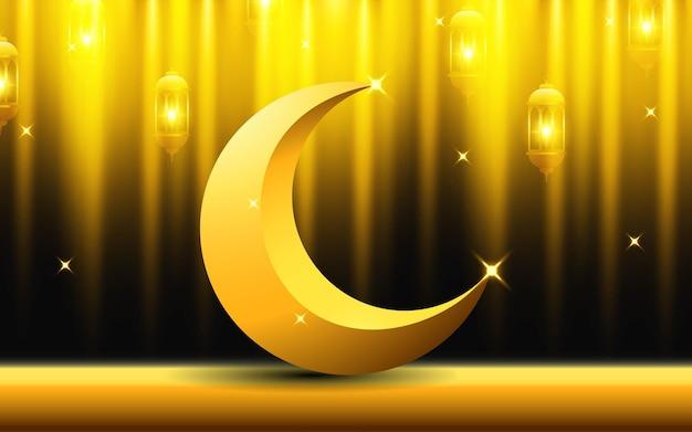 Рамадан карим фон с полумесяцем, золотом и фонарем