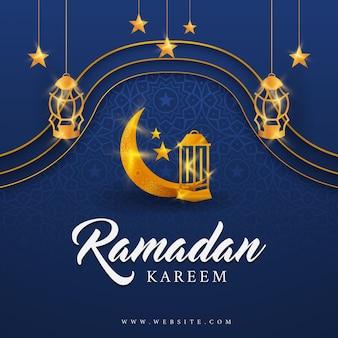 Рамадан карим фон, с фонариками в виде полумесяца, звездой, золотой шинг, иллюстрацией