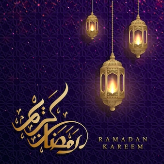 Ramadan kareem background with glowing hanging lantern.