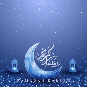Ramadan kareem background with glowing lantern and moon.