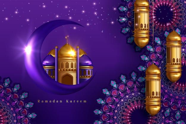 Ramadan kareem background with golden arabic lantern and golden ornate crescent