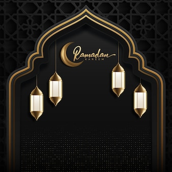Ramadan kareem background with golden moon and lantern