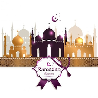 Ramadan kareem background with golden mosques and purple details